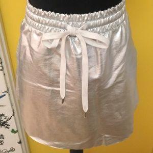 NWT Silver Metallic Drawstring Mini Skirt Size 1X